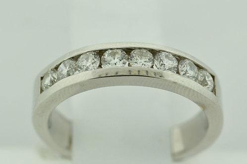 Round Diamond Channel Band, Set in 14k White Gold