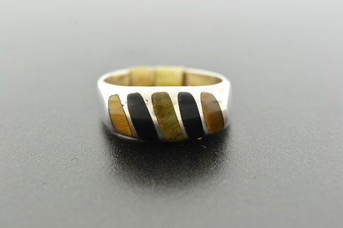 Black Onyx and Tiger Eye Ring, Inlaid in Sterling Silver