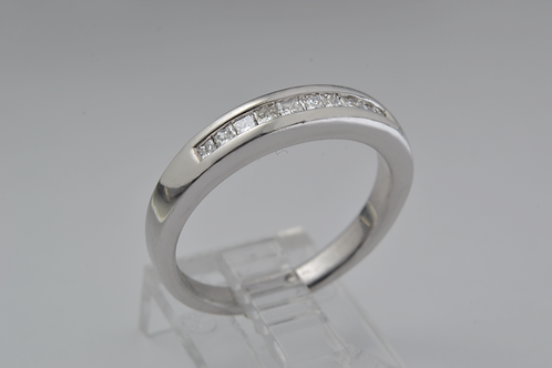 Platinum Square-Cut Channel-Set Diamond Ring