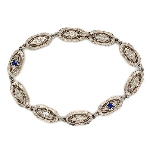 Handmade Heirloom Diamond and Sapphire Bracelet, in 14k White Gold