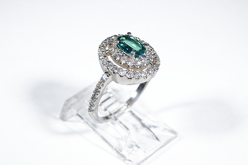 Natural Alexandrite and Diamond Ring, Set in 14k White Gold
