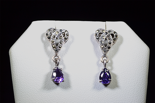 Sterling Silver Marcasite & Amethyst Earrings