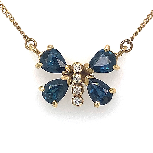 Sapphire and Diamond Butterfly Pendant, in 14k Yellow Gold