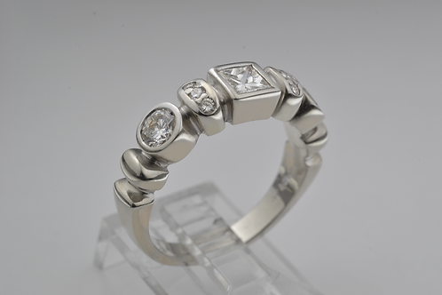 Princess and Round-Cut Diamond Ring, in 14k White Gold