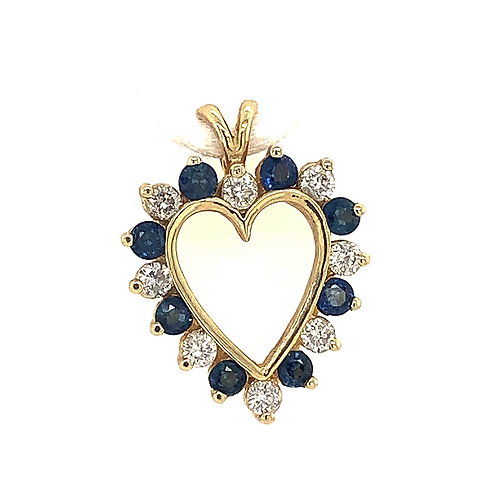 Sapphire and Diamond Heart Pendant, Set in 14k Yellow Gold