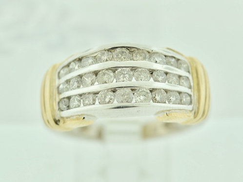 Multi-Channel Diamond Band in 10k Two Tone Gold