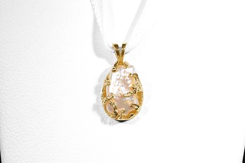 Biwa Pearl Pendant, in 14k Yellow Gold