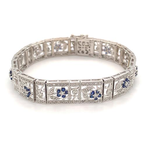 Sapphire and Diamond Bracelet, in 14k White Gold