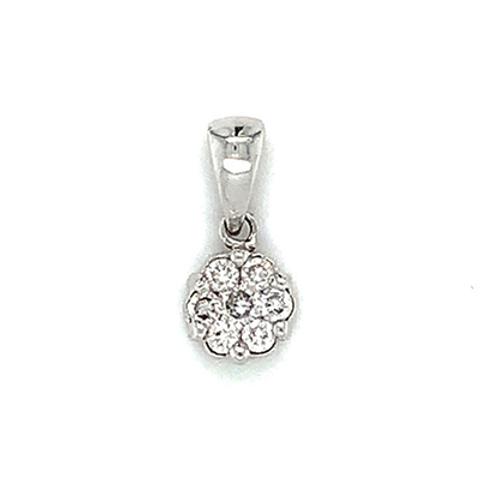 Diamond Flower Pendant, in 14k White Gold