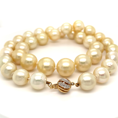 "18"" Champagne Pearl Necklace with 14k Yellow Gold & Diamond Clasp"