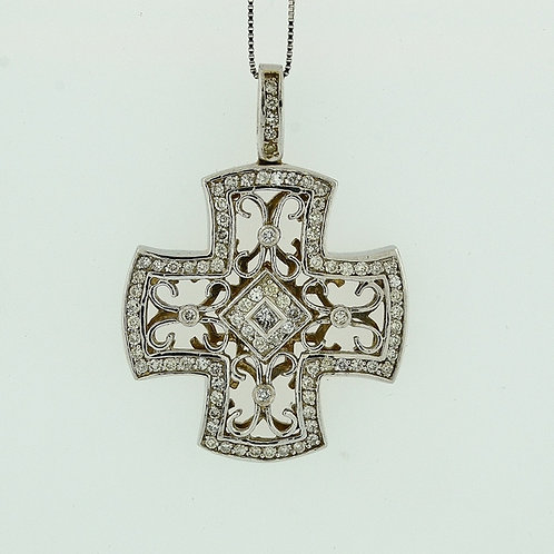 Diamond Cross Pendant, Set in 14k White Gold