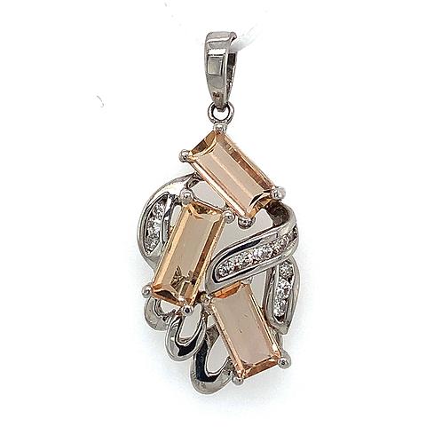 Precious Topaz and Diamond Pendant, in 14k White Gold