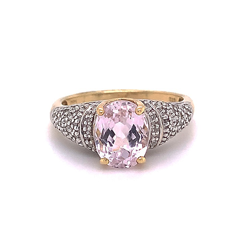Morganite and Diamond Ring, in 14k Yellow Gold
