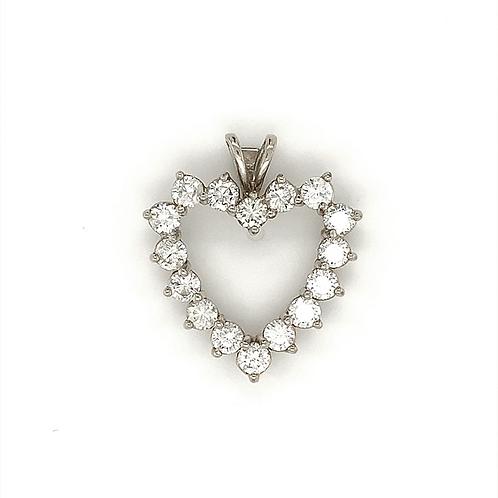 Diamond Heart Pendant, in 14k White Gold