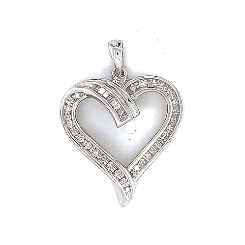Sterling Silver & Diamond Heart Pendant