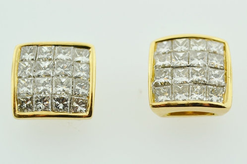 2ct Princess-cut Invisible Diamond Studs