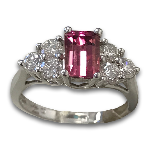 Pink Tourmaline and Diamond Ring, in 14k White Gold