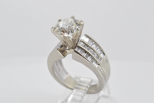 3ct Round Brilliant Cut Diamond Ring, in 14k White Gold