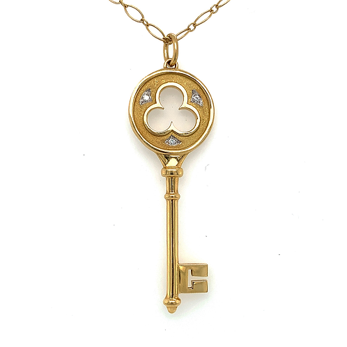 Tiffany & Co Key Pendant with 3 Diamond Accents, in 18k Yellow Gold