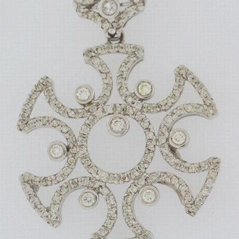 Diamond Slider Pendant, Set in 14k White Gold