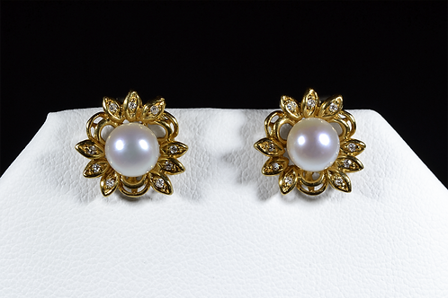 Pearl and Diamond Earrings, in 14k White Gold