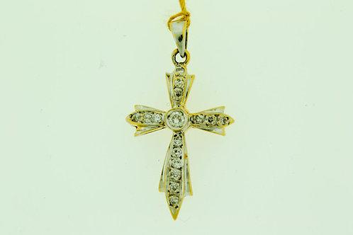 Elegant Diamond Cross Pendant in 14k White Gold