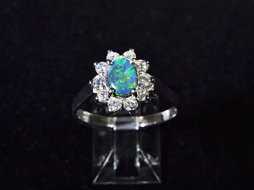 Black Opal and Diamond Ring, in 18k White Gold