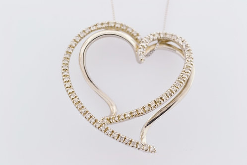 Twist Diamond Heart Pendant, Set in 14k White Gold