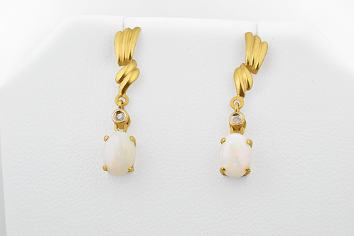 Opal and Diamond Earrings,  in 14k Yellow Gold