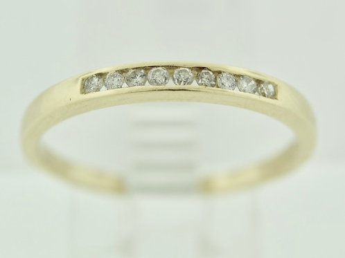 Thin Diamond Channel Band in 14k Yellow Gold