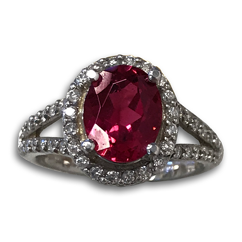Rubellite and Diamond Ring, Set in 14k White gold