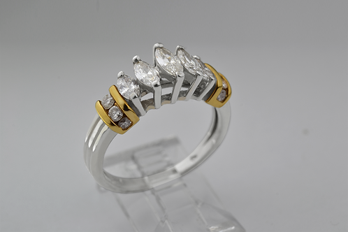 Marquise-cut Diamond Ring with Round Diamonds in 14k Two Tone Gold