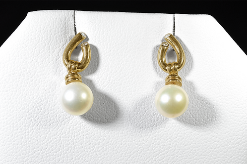Pearl Earrings with Diamond Accents, in 14k Yellow Gold