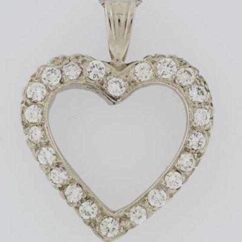 Diamond Pavé Heart Pendant, Set in 14k White Gold
