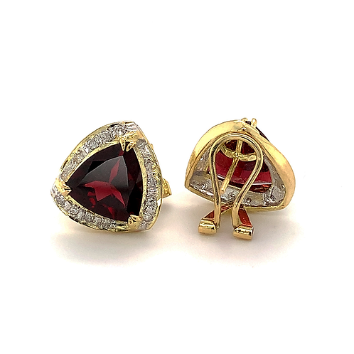 Trillion-Cut Garnet Earrings with Diamond Accents, in 14k Yellow Gold