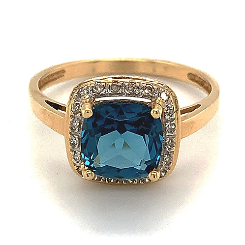 Blue Topaz and Diamond Ring, in 14k Yellow Gold