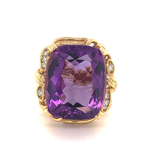 Amethyst Ring with Diamond Accent in 14k Yellow Gold