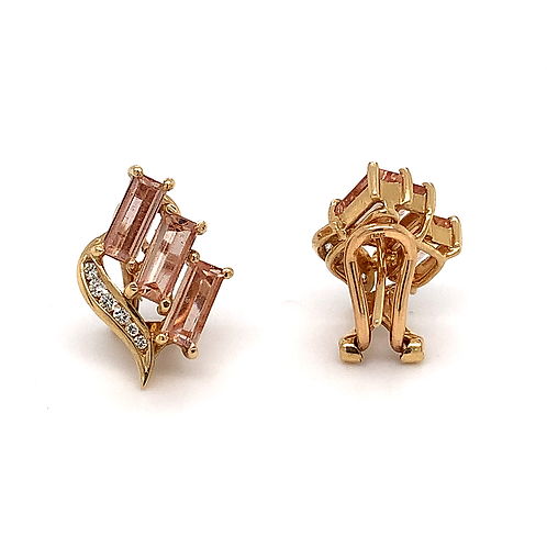 Precious Topaz and Diamond Earrings, Set in 14k Yellow Gold