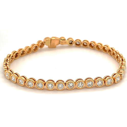 Bezel-set Diamond Tennis Bracelet, in 14k Yellow Gold