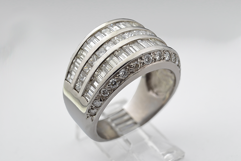 Wide Designer Diamond Band in 14k White Gold