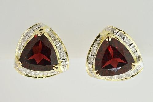 Garnet and Diamond Earrings in 14k Yellow Gold