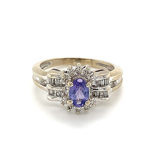 Tanzanite and Diamond Ring, in 10k White Gold
