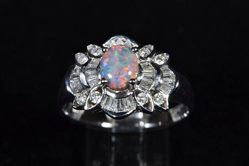 Opal and VS Diamond Ring, in 18k White Gold