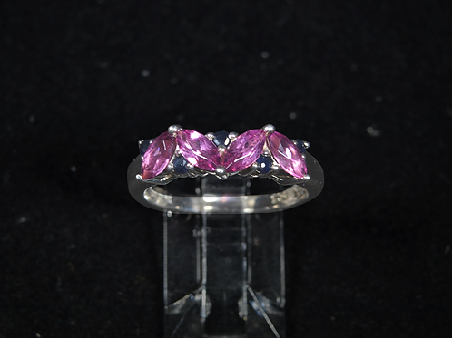Sterling Silver Rhodalite and Black Sapphire Ring