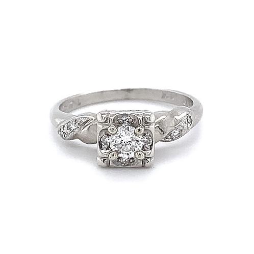 Antique Diamond Ring, in 14k White Gold