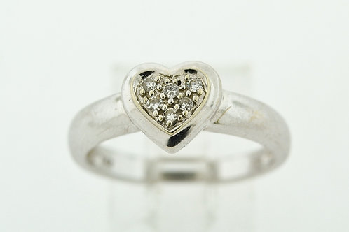 Diamond Pavé Heart Ring, Set in 14k White Gold