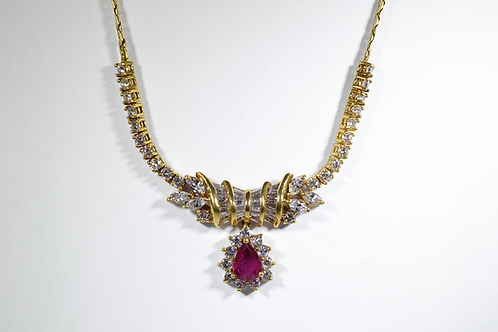 Beautiful Ruby and Diamond Necklace, Set in 18k Yellow Gold