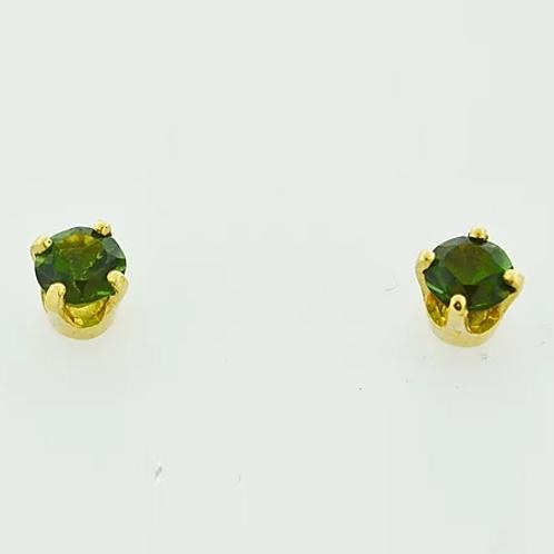 Round Green Tourmaline Studs
