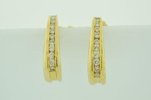 1/2ct Round Brilliant-cut Diamond J-Hoop Earrings