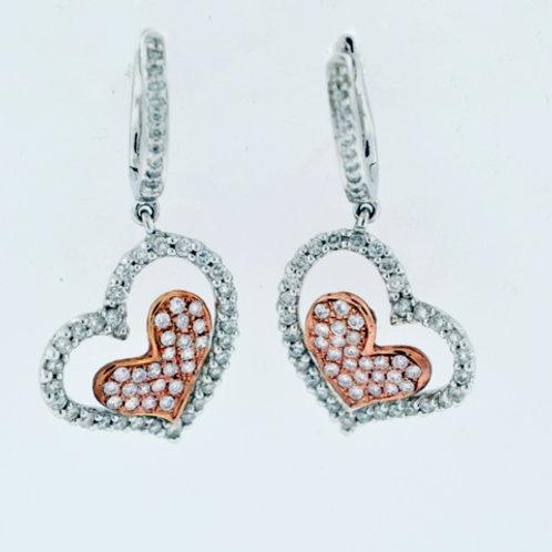Diamond Heart Style Dangle Earrings in 18k Two Tone Gold